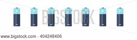 Battery Set. Alkaline Batteries. Batteries Flat Modern Style. Vector Illustration