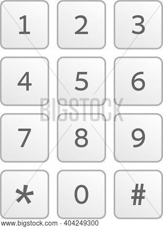 Keypad With Numbers For Mobile Phone Touchscreen User Interface. Vector Illustration Isolated On Whi