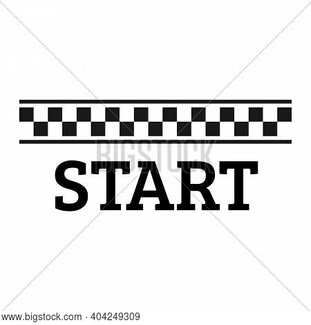 Starting Line Black And White Checkered Flag With Start Text Icon. Race And Motivation Concept Sign.