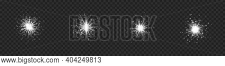 Collection Of Star Burst With Sparkles. Silver Light Flare Effect With Sparkles And Glitter Isolated