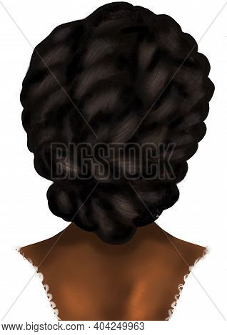 Hand-drawn Abstract Fashion Illustration Of Imaginary Female Afro Model With High Roll Braids Updo H