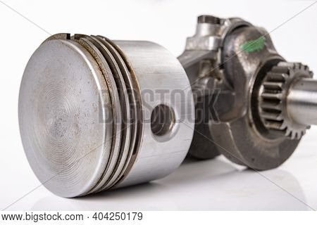 Piston And Crankshaft Of A Small Internal Combustion Engine. Spare Parts For Engine Repair And Regen
