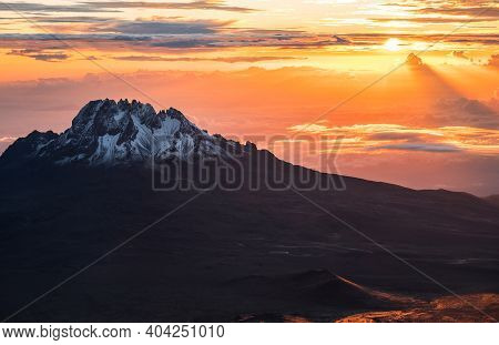 Breathtaking View Of Sunrise Morning Sky With Mawenzi Mountain Peak 5148m - The 4th Highest Peak In