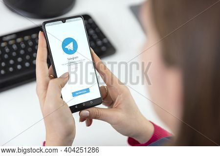 Wroclaw, Poland - Jan 20, 2021: Telegram Application On Smart Phone With Android. Telegram App Chose