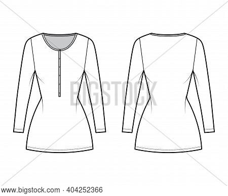 Shirt Dress Mini Technical Fashion Illustration With Henley Neck, Long Sleeves, Fitted Body, Pencil