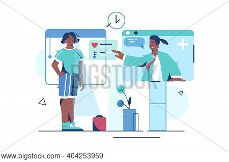 Online Medical Consultation Vector Illustration. Patient Meeting Professional Doctor Via Internet Co