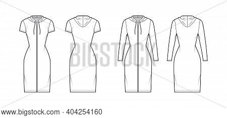 Hoodie Zip-up Dress Technical Fashion Illustration With Long, Short Sleeves, Knee, Mini Length, Fitt