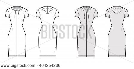 Hoodie Zip-up Dress Technical Fashion Illustration With Short Sleeves, Knee, Mini Length, Fitted Bod