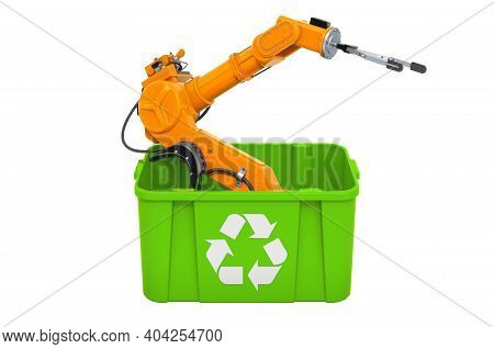Recycling Trashcan With Robotic Arm, 3d Rendering Isolated On White Background