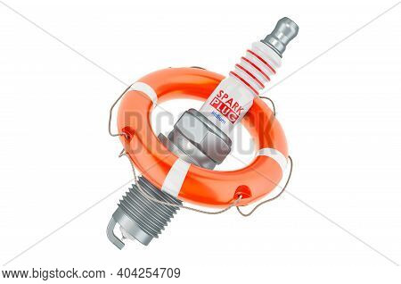 Repair And Service Of Spark Plug, 3d Rendering Isolated On White Background