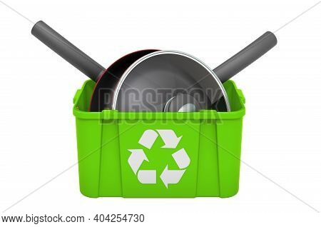 Recycling Trashcan With Frypans, 3d Rendering Isolated On White Background