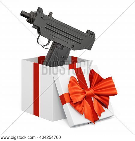 Submachine Gun Inside Gift Box, Present Concept. 3d Rendering Isolated On White Background