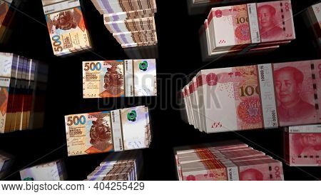 Flight Over Honk Kong Dollar And Chines Yuan Money Banknote Packs Illustration