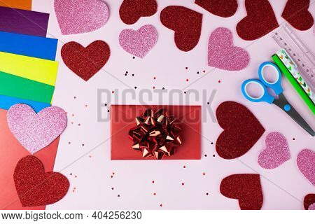 Handmade Valentine's Day Card, Red And Pink Hearts On Pink Background. Concept Of Diy For Valentine'