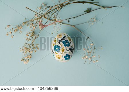 Painted Chicken Egg In Floral Pattern. Diy Craft For Easter Holidays With Kids. Botanical Decoration