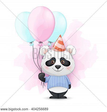 Stock Vector. Cute Little Panda Holding Balloons. Funny Panda Cartoon Character At Birthday Party. V