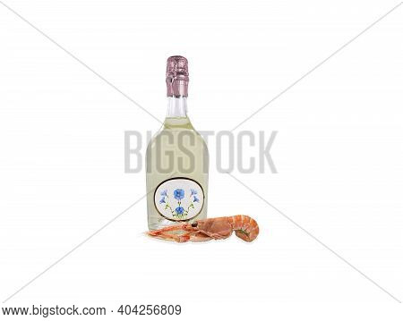 Sparkling White Wine With Scampi Crustacean Sparkling White Wine With Scampi Crustacean