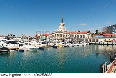 Commercial Sea Port Of Sochi, Russia. Yachts And Ships On Black Sea. Sochi, Russia - March 30, 2019.