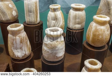 Lisbon, Portugal - March The 1st, 2020: Pre-islamic Alabaster Vases From Mlehia, Sharjah Emirate. Na