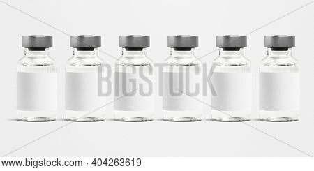 Injection glass vials with blank white label