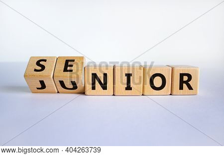 From Junior To Senior Symbol. Turned Cubes And Changed The Word 'junior' To 'senior'. Beautiful Whit