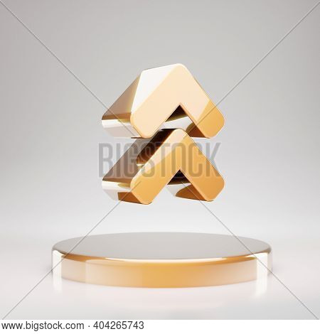 Angle Double Up Icon. Yellow Gold Angle Double Up Symbol On Golden Podium. 3d Rendered Social Media