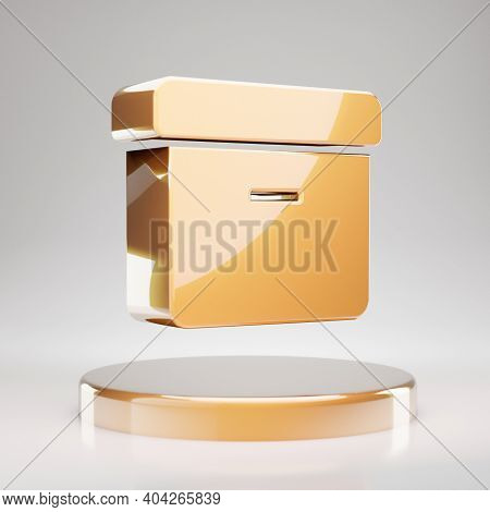 Archive Icon. Yellow Gold Archive Symbol On Golden Podium. 3d Rendered Social Media Icon.
