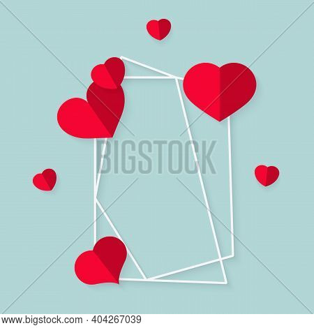 Closeup Of Abstract Polygonal Geometric White Frame With Red Hearts. Template Empty Text Banner For