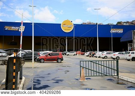 Salvador, Bahia, Brazil - January 19, 2021: View Of The Wholesale Supermarket Marcantil Rodrigues In