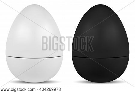 Egg Shape Lip Balm Cosmetic Container, Face Cream Jar Round Pack. Face Creme Or Powder Product Mocku