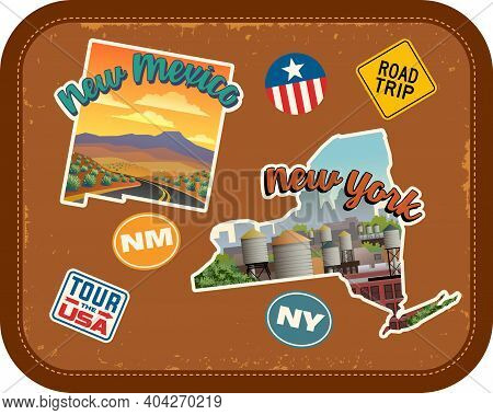 New Mexico, New York Travel Stickers With Scenic Attractions And Retro Text On Vintage Suitcase Back
