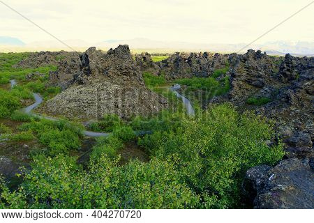 The View Of The Walking Trail Along The Unique Rock Structure At Dimmuborgir Lava Formations Near La