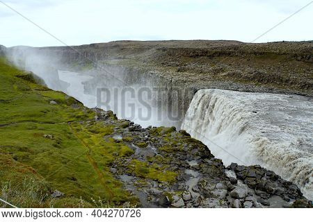 Beautiful View Of Dettifoss, A Waterfall In Vatnajokull National Park In Northeast Iceland During Th