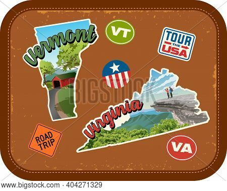 Vermont, Virginia Travel Stickers With Scenic Attractions And Retro Text On Vintage Suitcase Backgro