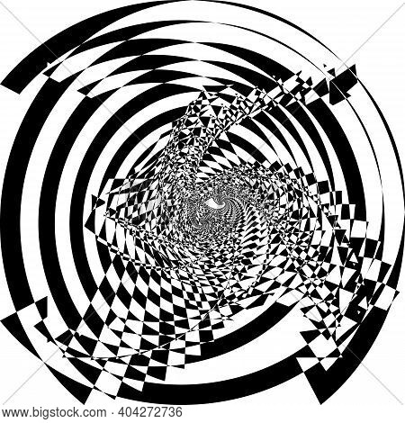 Intersected Trajectory Festive Tree Stairs Down Perspective Illusion Abstract Background Black On Tr