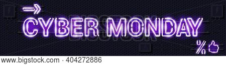 Cyber Monday Glowing Purple Neon Lamp Sign. Realistic Vector Illustration. Perforated Black Metal Gr