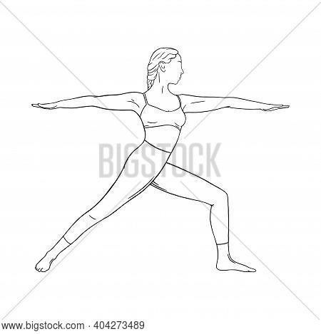 Yoga Warrior Asana Or Virabhadrasana I. Woman Practicing Yoga Asana. Engraved Vector Illustration Is