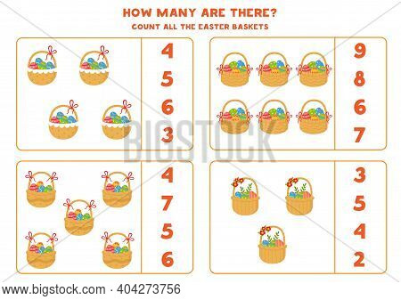Counting Game For Kids. Count Easter Baskets.