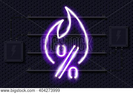 Hot Sale Glowing Purple Neon Lamp Sign. Realistic Vector Illustration. Perforated Black Metal Grill