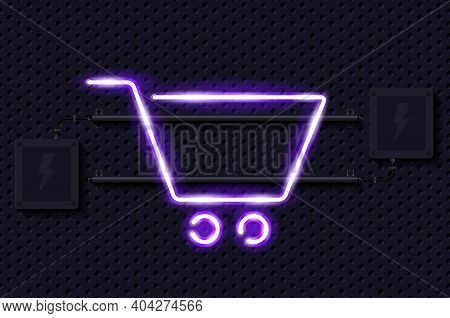 Shopping Cart Glowing Purple Neon Lamp Sign. Realistic Vector Illustration. Perforated Black Metal G