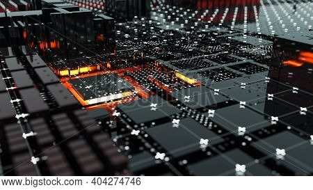 Abstract Central Computer Processors Concept. 3d Illustration. Conceptual Cpu On Circuit Board - Pcb
