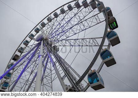 Helsinki, Finland - January 17, 2020: Ferris Wheel On The Helsinki Embankment