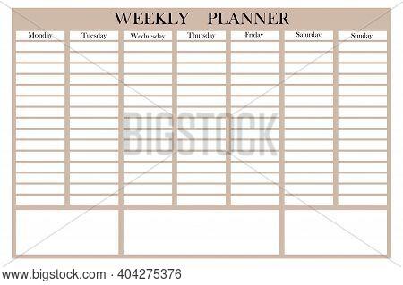 Cartoon Week Planner. Business Organizer. Calendar Template. Planner Design. Stock Image. Eps 10.