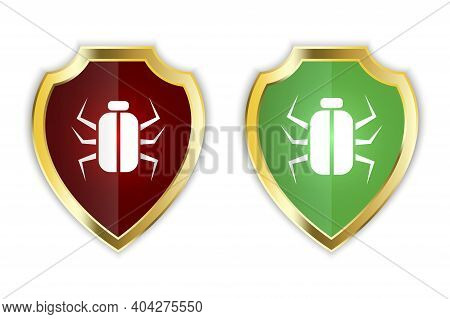Shield Antivirus Computer. Two Shields With Spiders. Red And Green Shields. Stock Image. Eps 10.