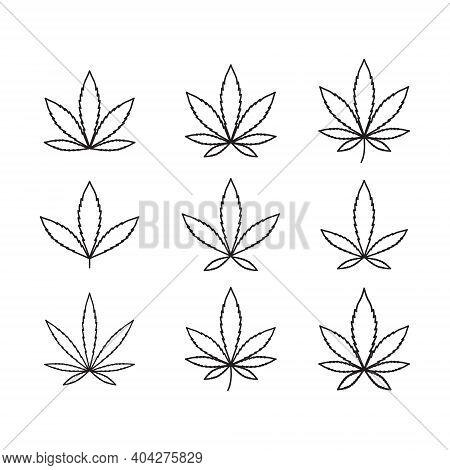 Cannabis Vector Isolated Icon. Vector Illustration. Cannabis Sign Hemp Oil. Marijuana Icon Set. Cann