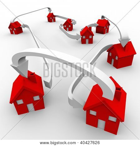 Several red houses are connected by arrows to symbolize community, neighborhood, society, spreading, moving, relocation and sharing