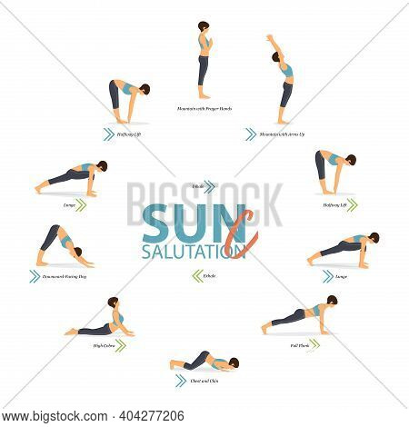 Infographic Of 10 Yoga Poses For Yoga At Home In Concept Of Yoga Sun Salutation C In Flat Design. Wo