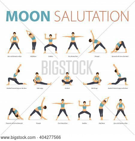 Infographic Of Yoga Poses For Yoga At Home In Concept Of Yoga Moon Salutation In Flat Design. Woman