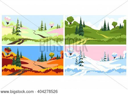 Times Of The Year. Seasons. Vector Set Of Illustrations With The Seasons Of The Year