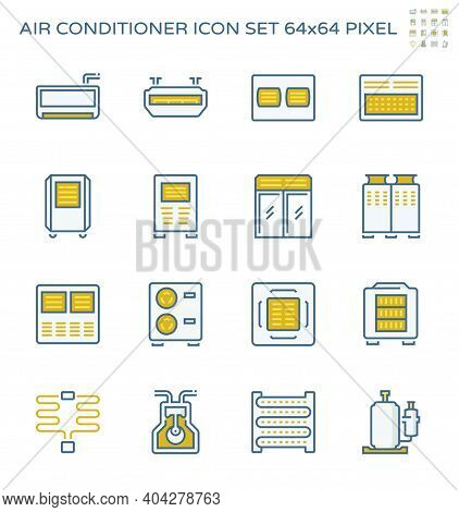 Air Conditioner, Air Compressor Or Condenser Unit Vector Icon. Machine Or Equipment Part Of Cooling